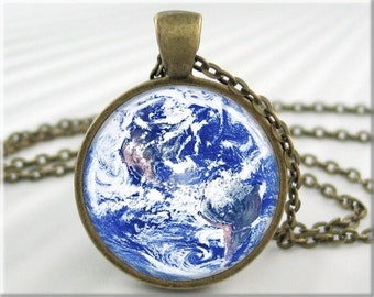 Earth Picture Pendant, Resin Pendant, Earth Jewelry, Space Photo Necklace, Planet Earth, Round Bronze, Earth Space Photo Charm 283RB