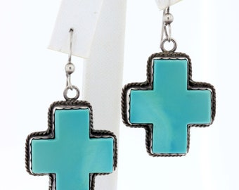 Silver Cross Earrings with blue Inlay
