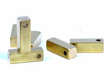 "Raw brass bar square stamping bar 4 pcs 5x15 mm 3/16""x5/8""  1719 sbl15"