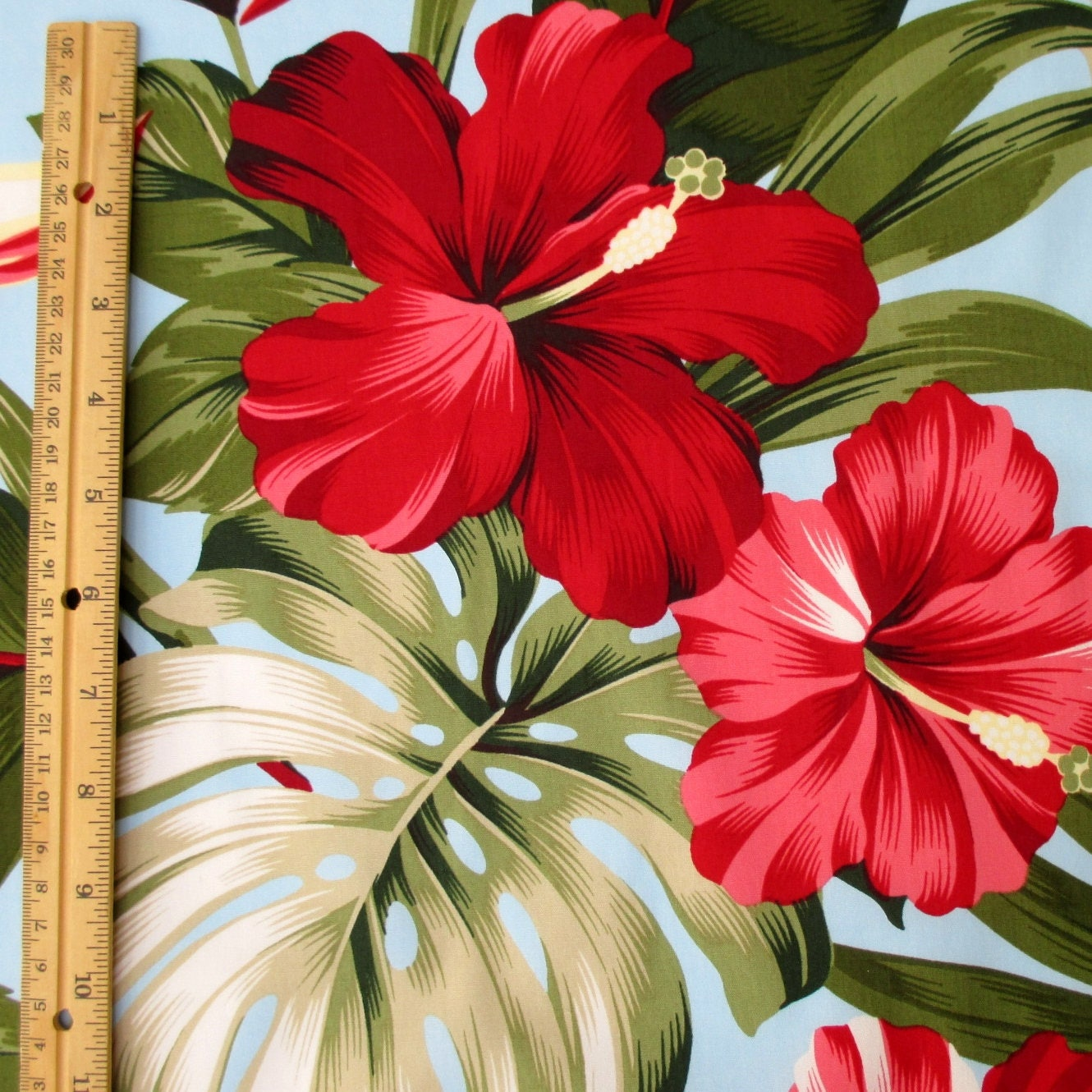 Fabric, Red Hibiscus Floral on Light Blue, Tropical Hawaii, Bird of ...