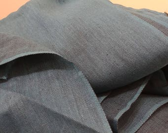 """1950's Vintage Chambray Canvas Cotton Teal  Blue Fabric cotton  4 yards by 37"""" wide perfect for a dress with big pockets on a full skirt"""