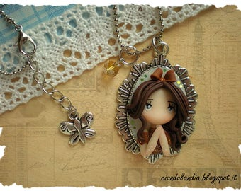 Princess doll cammeo necklace -Polymer clay steampunk-