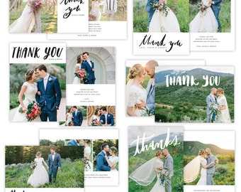 INSTANT DOWNLOAD - Thank You Cards Photoshop templates - E1339