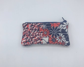 "Zipper Pouch 5.75"" x 3"", Coin Purse, gift, purse accessory, storage, Coin Pouch, quilted"