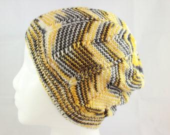 Hand knit hat, gray / yellow / cream  adult hat,  slouchy hat, hand knit adult hat, hand knit yellow hat