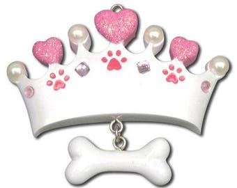 Princess Dog Bone Ornament  Princess Crown  Personalized Christmas Ornaments