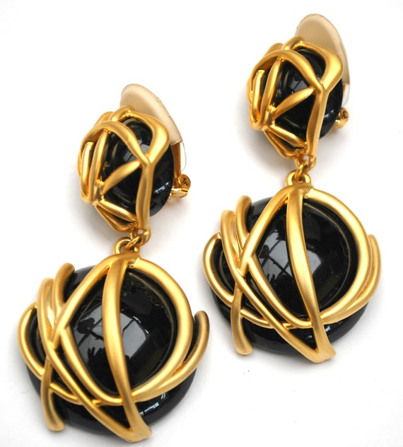 Black Gold Dangle Earrings  - Bold Abstract gold -   drop -  clip on earring - 1980s