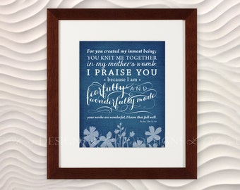 """Bible Verse """"Fearfully and Wonderfully Made"""" Nursery Art -  8x10 - Blue - DIY Printable - INSTANT DOWNLOAD"""