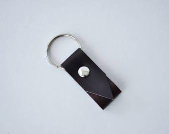Mini leather key fob, dark maroon