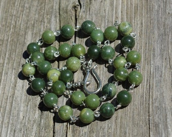 Jade Necklace ~ Unisex Jewellery ~ Canadian Nephrite Jade ~ Men's Gift ~ Polished Stones ~ British Columbia Jade ~ Good Luck Stones
