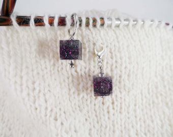 Purple and Green Captured Fiber and Resin Stitch Marker and Progress Keeper Set