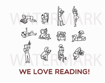 Book Reader People for Logo - Hand Drawing JPG/SVG/PNG - Instant Download