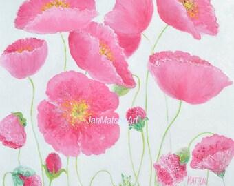 Poppy painting, flower painting, poppy art, flower oil painting, pink poppies, Impressionist art, living room art, interior design, Etsy Art