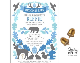 Woodland Twin Baby Shower Invitation / Owl Deer Rabbit Bear Fox Invitation / Forest Animal Invitation / Couples Baby Shower Invitation