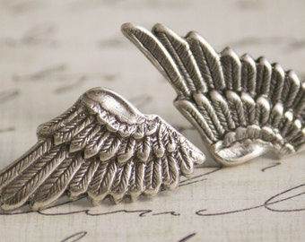 Small Sterling Silver Plated Metal Elf Angel Wings Earrings (Sensitive Ears, Hypoallergenic, Nickel & Lead Free) (Post, Studs)