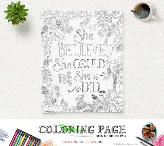 She Believed She Could Quote Coloring Page