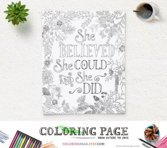 Printable Coloring Page She Believed She Could Instant