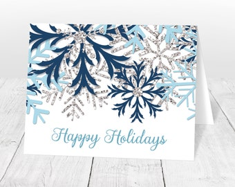 Holiday Cards - Blue Silver Snowflake Winter design - Aqua Navy Happy Holidays Christmas Cards with greeting - Printed Snowflake Cards