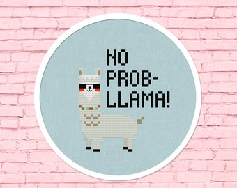 No Prob-llama Cross Stitch Pattern, Modern Simple Cute Cool Llama Sunglasses Counted Cross Stitch PDF Pattern. Instant Download