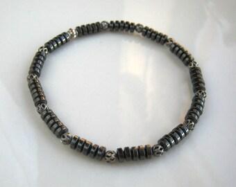 Magnetic Hematite Stretch Bracelet Gunmetal Bracelet Gray Bracelet