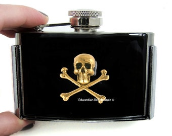 Skull and Crossbones Flask Belt Buckle Inlaid in Hand Painted Black Enamel Gothic Victorian Inspired with Personalized and Color Options
