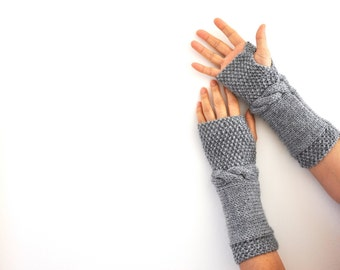 Gray Fingerless Gloves Armwarmers Hand Knit Fashion Warm Cozy
