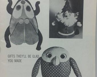1967 Owl Beatle Bean BagPattern Good Housekeeping Needlework Sewing Book 770 GHN Santa Lion Snowflake Fur Totebag Knitting Book