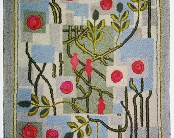 """Hand-hooked rug  """"Arts and Crafts Roses"""""""