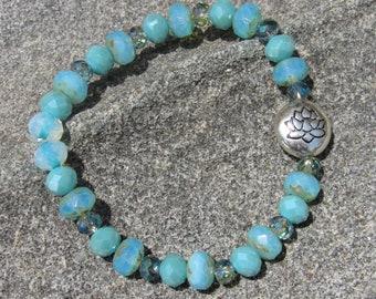 Lotus Flower Blue Beaded Bracelet