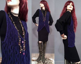 Breakfast Club Sweater Dress • Vintage 80s • 90s • Witchy Dress • Black Purple • Crochet vest • boho sweater dress • loose • Knee length S M