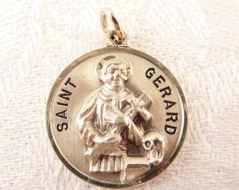 St gerard pendant etsy sale vintage creed sterling saint gerard pop out prayer medallion pendant or charm aloadofball Image collections