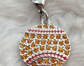 Rhinestone Softball Clip-on Pendant