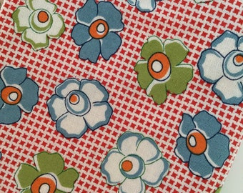Wee Play American Jane Sandy Klop Florals Flowers Red Fat Quarter Quilt Fabric Sewing Fabric Retro Fabric