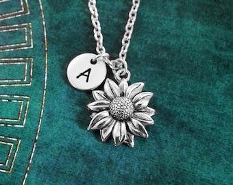 Sunflower Necklace SMALL Sunflower Jewelry Personalized Jewelry Flower Girl Necklace Sunflower Charm Necklace Flower Necklace Flower Jewelry