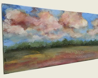 Blue Sky, Pink Clouds, Original Painting, Landscape Painting, Home Decor, Office Decor, Wall Art, Gift, Winjimir, 10x20, Fine Art,