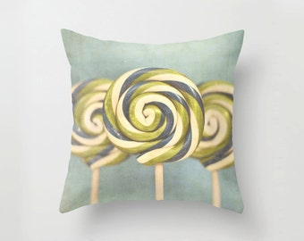 Pillow Cover, Three Lollipops, food photography, still life photography, dreamy candy photography blue green throw pillow cover