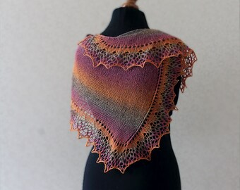Lace shawl in pink-orange-grey colors, Spring accessory, Gift idea for Mom, Mother day gift idea