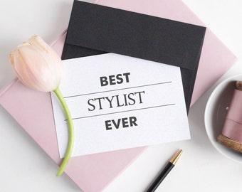 Wedding stylist thank you card - Best stylist ever - Hair stylist gift - Wedding thank you card - C002-4