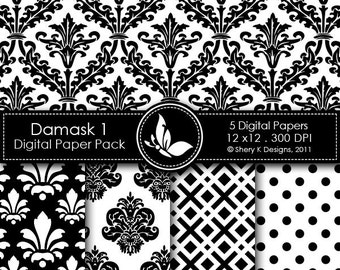 Printable Damask Paper Pack 1 - 5 Printable Digital scrapbooking papers - 12 x12 - 300 DPI