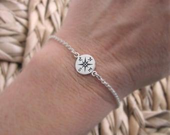 Compass bracelet, sterling silver bracelet, silver compass rose, graduation gift, compass jewelry, travel bracelet, simple layering bracelet