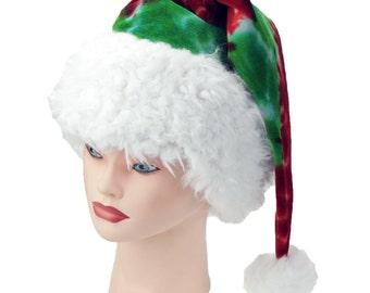 Tie Dye Santa Hat Red and Green Holiday Sleeping Cap Organic Cotton