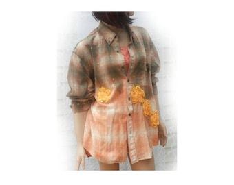 grunge shirt - recycled shirt - Bohemian shirt -embellished shirt - oversize shirt  size extra large,  # S T 5