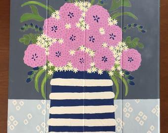 Purple Flower Painting, Original Art, Flower Vase Painting, Acrylic on Wood, Painting of Flowers, Painting, Painting on Wood, Original
