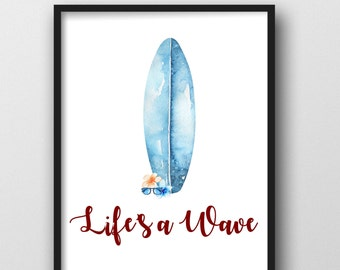 Lifes A Wave Surfer Printable. Teen Boy Room, Little Boys Room, Surfer Print, Surf Print, Surfboard Print, Boys Room, Cali Printable