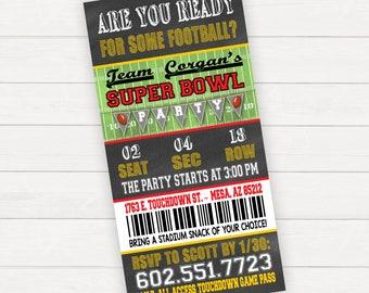 Super Bowl Invitation Super Bowl Party Invitation Super Bowl Invite Super Bowl Ticket Invitation Football Ticket Invitation Football Party