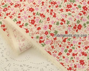 Floral Oxford Cotton Fabric, Pink Purple Orange Little Flower Cotton For Girls Dolls-1/2 yard