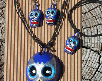 Lucha Libre Luchador Jewlery-Set with Necklace-Earrings-Bracelet-Handmade by Clay-Handpainted-Blue-El Santo-Fiesta Birthday Gift-Folk Art