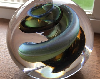 Vintage SWIRLED COLORED PAPERWEIGHT signed