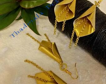 boho brass sheet earring