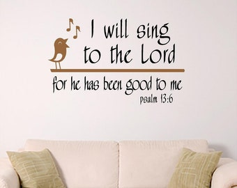 Scripture Wall Art, I will sing to the Lord